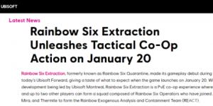 官网疑是泄漏《彩虹六号:异种》上市时间(或将于2022年1月20日发售)